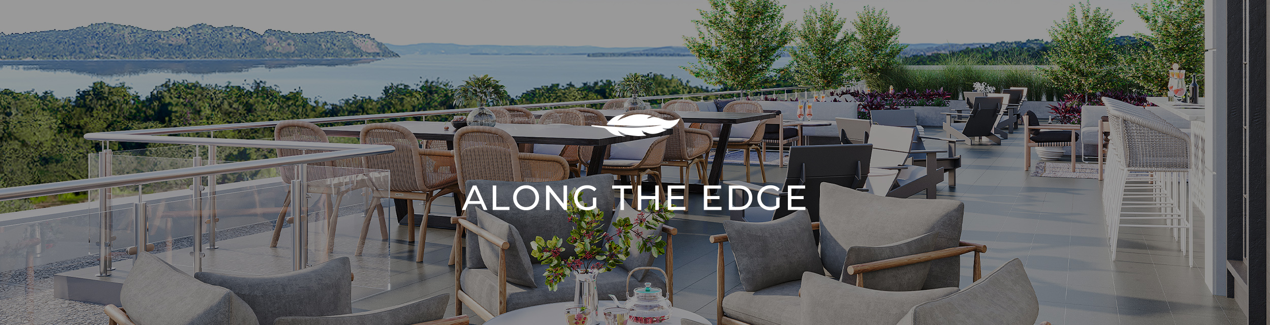Emerson roof deck overlooking the water. Text: Along the Edge.