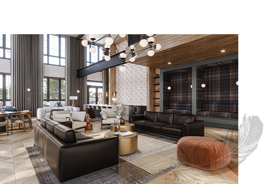 Emerson clubhouse with vaulted ceilings and seating areas